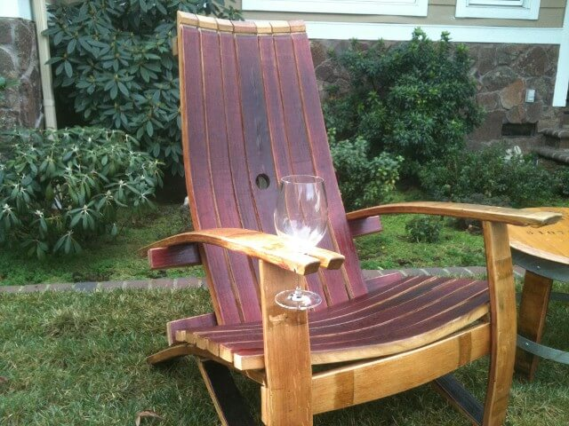 Relaxing adirondack chairs for the deck homeowner gc for Wine barrel chair diy